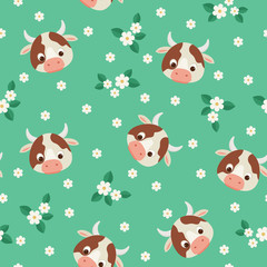 Cows and flowers green seamless pattern