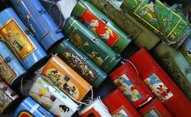 Vintage lithographed tin boxes, designed to contains sandwiches for children's lunches, are displayed as part of a huge collection at the house of Dardenne in Grand-Hallet