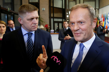 Slovakia's PM Fico and EU Council President Tusk brief the media in Brussels