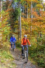Radtour im herbstlichen Wald