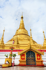 Tachileik Shwedagon Pagoda is a beautiful golden pagoda that imitates Shwedagon Paya Pagoda, tourist attraction near the Thai border at Tachileik town in Shan State, Myanmar (Burma)