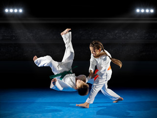 Aluminium Prints Martial arts Little children martial arts fighters