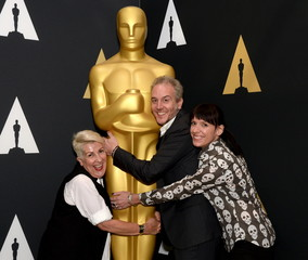 Elka Wardega, Lesley Vanderwalt and Damian Martin attend a reception at the Academy of Motion Picture Arts and Sciences in Beverly Hills