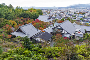 Scenic top view of Enkoji Temple and north Kyoto city skyline during autumn