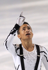 Amodio of France reacts after hismen's free skating program at the Bompard Trophy ISU Grand Prix figure skating competition in Paris