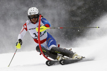 Wendy Holdener of Switzerland skis during the first run of the women's Slalom race at the World Alpine Skiing Championships in Schladming