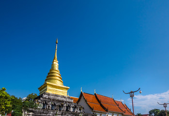 Wat Phra That Chang Kham Worawihan (Chang Kham temple), ancient landmark of Nan province, in north of Thailand. Temple age more than 600 years. A famous place of tourism to visit.