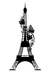 eiffel tower among rose flowers and butterfly - black vector silhouette of french capital symbol