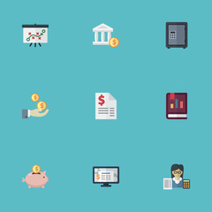 Flat Duty, Accounting System, Bank And Other Vector Elements. Set Of Registration Flat Symbols Also Includes Moneybox, Whiteboard, Bookkeeper Objects.