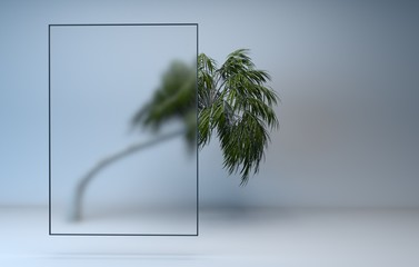 3d render tree behind frosted glass