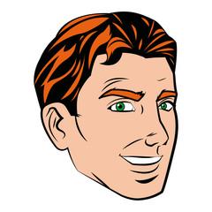 face man pop art style image vector illustration