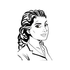 portrait woman beauty character comic style vector illustration