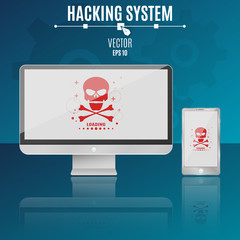 Modern computer and phone on a blue background. Hacking system. Red skull on a light screen. Hi-tech. Vector illustration