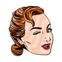 pretty face woman hairstyle comic vector illustration