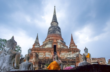 Wat Mahathat in Buddhist temple complex in Ayutthay.Thailand