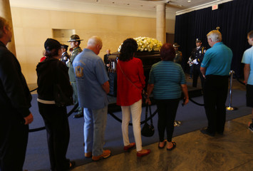 People pay their respects as former first lady Nancy Reagan lies in repose at the Ronald Reagan Presidential Library in Simi Valley, California