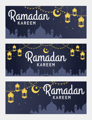 Vector set of Ramadan Kareem horizontal banner, with lantern and Mosque. Ramadan Kareem ads, flyer, invitation, greeting card. Islamic background.