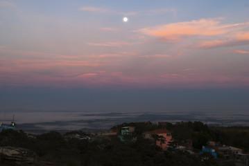 Full moon at dawn in Brazil