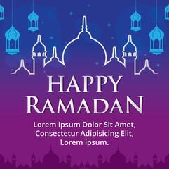 Happy Ramadan. Ramadan Kareem vector illustration. Lanterns, Stars and Mosque Background. Ramadan Greeting card, Poster, Banner.