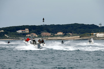 Pilot and jet-ski champion Franky Zapata hovers in the air on an IPU Flyboard Air hoverboard as he breaks the Guiness World Records in Sausset les Pins near Marseille, France