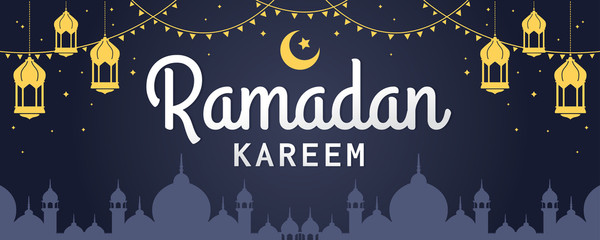 Ramadan Kareem horizontal vector banner, text in middle with lantern and Mosque. Ramadan Kareem ads, flyer, invitation, greeting card. Islamic background.