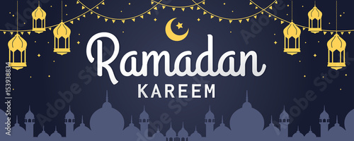 Ramadan kareem horizontal vector banner text in middle with lantern ramadan kareem horizontal vector banner text in middle with lantern and mosque ramadan kareem stopboris Images