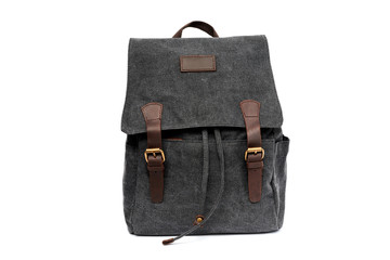 Dark gray city backpack isolated on white background