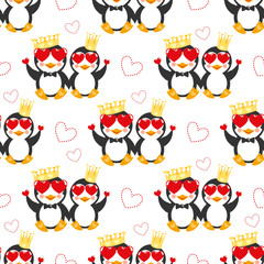Funny pattern with penguin, crown and hearts. Background with happy couple animal.