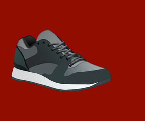 sneakers isolated on background. icon with gray running shoes.