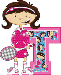 T is for Tennis Learning Illustration