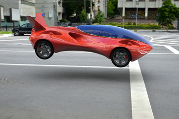 Red Air Vehicle At The Parking Lot, Urban Flying Car 3d Concept, Futuristic Vehicle, Air Car Concept - 3D Rendering