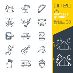 Lineo Editable Stroke - Camping and Outdoor outline icons Vector Icons - Adjust stroke weight - Expand to any size - Change to any colour