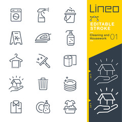 Obraz Lineo Editable Stroke - Cleaning and Housework line icons Vector Icons - Adjust stroke weight - Expand to any size - Change to any colour - fototapety do salonu