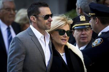 Hugh Jackman and wife Deborra-Lee Furness arrives at St. Ignatius Loyola church for fashion designer Oscar de la Renta's memorial service in the Manhattan borough of New York