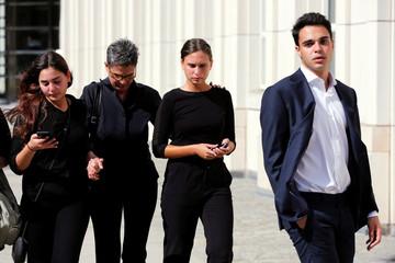 "Hana Alexander, wife of Jacob ""Kobi"" Alexander departs Brooklyn federal court after a hearing in New York"