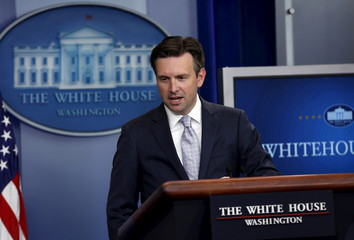 White House Press Secretary Josh Earnest speaks about Syria and Russia during a briefing at the White House