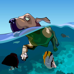 cartoon dog swims in the sea with fishes
