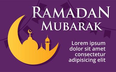 Ramadan Mubarak vector illustration. Moon, Flag and Mosque Background. Ramadan Greeting card, Poster, Banner.