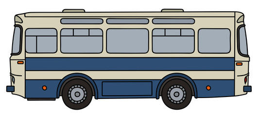 Retro blue and white line bus