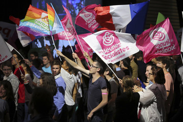 """Supporters of the Socialist Party attend their """"Universite d'ete"""" summer meeting in La Rochelle"""
