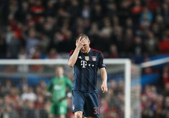 Bayern Munich's Schweinsteiger reacts after he was sent off during their Champions League quarter-final first leg soccer match against Manchester United at Old Trafford in Manchester