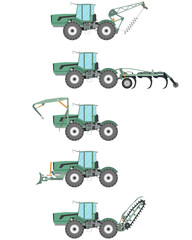 A set of attachments for tractors in construction and agriculture on a white background. Vector illustration
