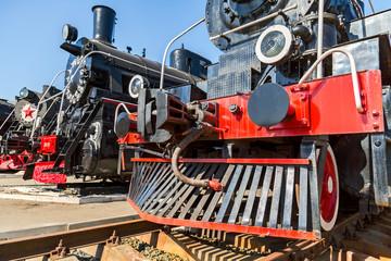 Front part of the retro steam locomotive