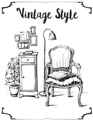 Vector illustration of vintage interior with sofa, lamp and pictures. Black line silhouette.
