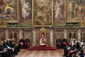 Pope Benedict XVI attends an audience with foreign ambassadors to the Holy See at the Vatican
