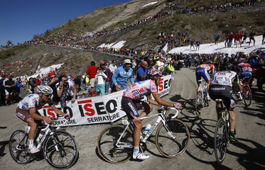 Contador of Spain climbs during the 20th stage of the Giro d'Italia cycling race from Verbania to Sestriere