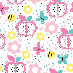 seamless apple pattern vector illustration
