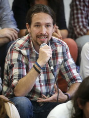 Iglesias talks during a news conference of Podemos in Madrid