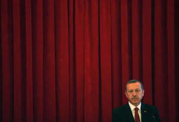 Turkey Prime Minister Tayyip Erdogan is pictured after his speech during conference in Ankara