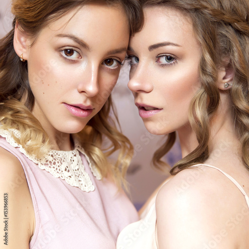 Three Beautiful Brunette Bride Women With Curly Hairstyle